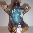 "Fenton Glass Red ""Boo Moon"" Halloween Ghost Figurine w Cat Ltd Ed #13/32 Barley"
