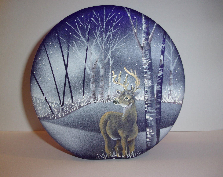 Fenton Glass Cobalt Blue Buck Deer White Birch Paperweight Ltd Ed #9/26 JK Spindler