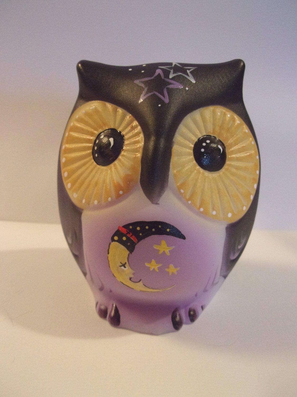 "Fenton Glass ""Nite Owl"" Half Moon Halloween Sitting Owl Figurine LE #4/15 Kibbe"