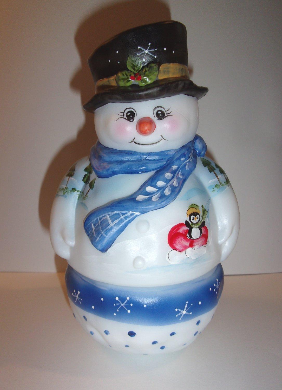 Fenton Glass Winter Tubing Penguin Snowman Fairy Light Lamp Ltd Ed #25/31 Kibbe