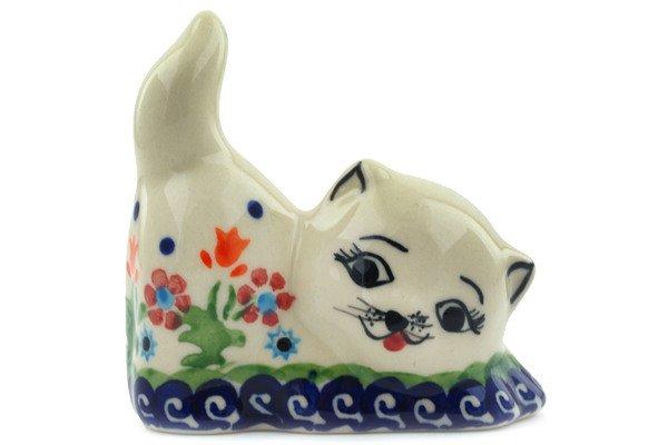 Polish Pottery Floral Pouncing Cat Kitten Figurine Bolesawiec Stoneware