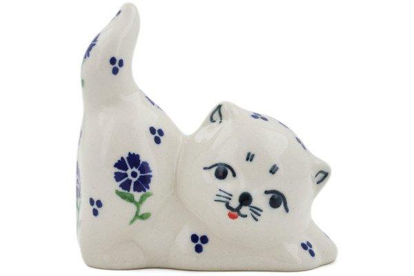 Polish Pottery Blue Posy Pouncing Cat Kitten Figurine Bolesawiec Stoneware