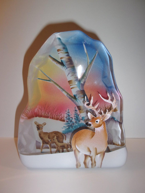 Fenton Glass Deer Family Buck Doe Fawn Iceberg Paperweight Lt Ed Spindler #6/14