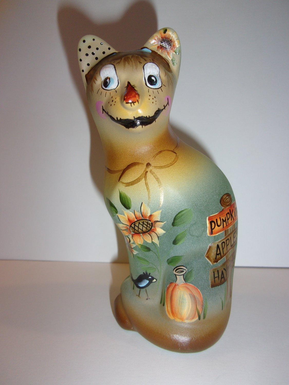 Fenton Glass Green Opal Halloween Scarecrow Stylized Cat Ltd Ed K Barley #6/17