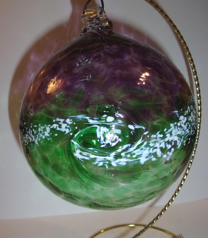 "Kitras Art Glass Van Gogh ""Starry Night"" Green & Purple Friendship Witch Ball"