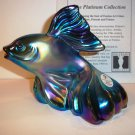 Fenton Glass Favrene Koi Fish Figurine Platinum Collection 2005 Ltd Ed 1177/2500