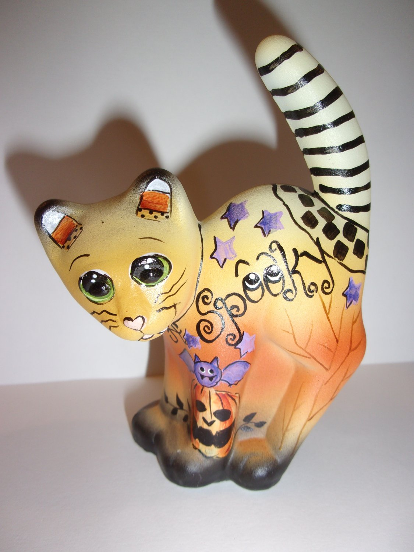 "Fenton Glass Halloween ""Spooky"" Scaredy Cat Figurine Ltd Ed #29/30 Kim Barley"