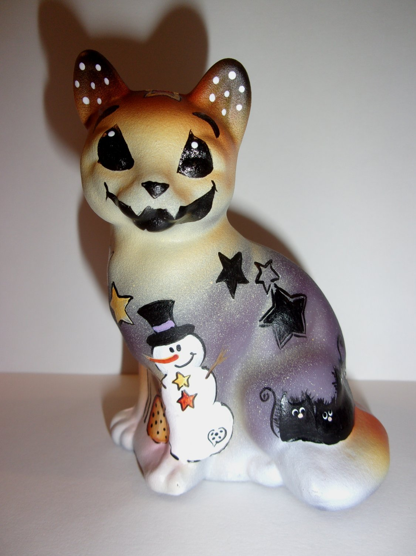 Fenton Glass Purple Halloween Snowman Scruffy Sitting Cat Ltd Ed K Barley #19/19