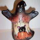Fenton Glass Happy Halloween Ghost Figurine Black Cat GSE Ltd Ed #16/33 M Kibbe