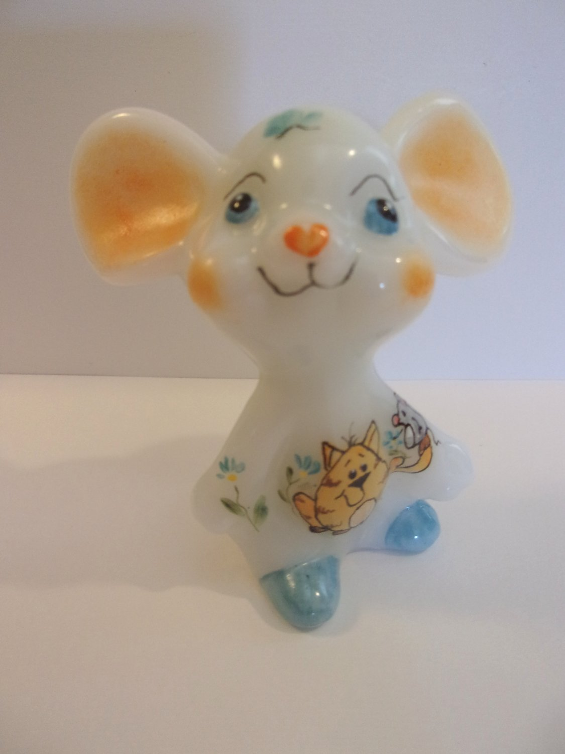 Fenton Glass Mouse Figurine w Tabby Cats Ltd Ed of 25 by TG Mendenhall for FAGCA