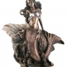 Art Nouveau Style Mermaid Nymph in Shell HP Bronze Finish Nude Statue Figure