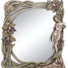 Nude & Orchid Florals Art Nouveau Style Wall Dresser Mirror HP Bronze Finish