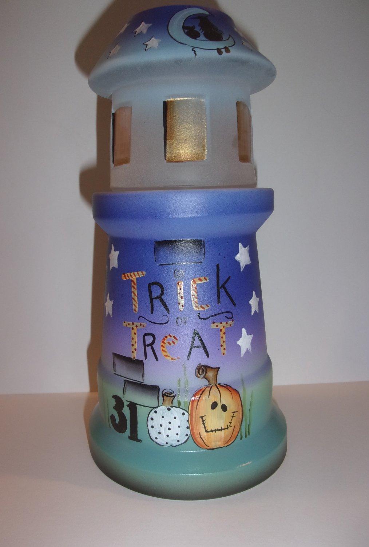 Fenton Glass Trick or Treat Cat Halloween Fun Lighthouse Fairy Light Barley LE #3/25