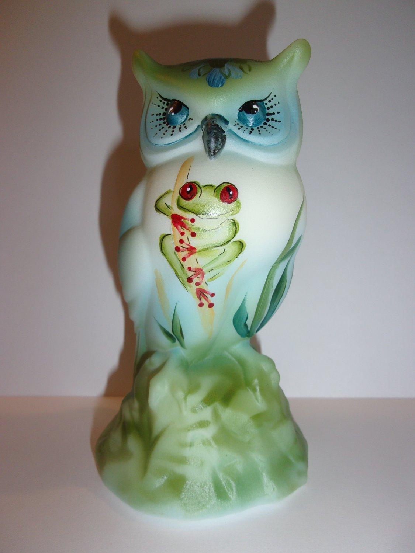 "Fenton Glass ""Red Eyed Tree Frog"" Rainforest Owl Figurine Ltd Ed #24/41 M Kibbe"