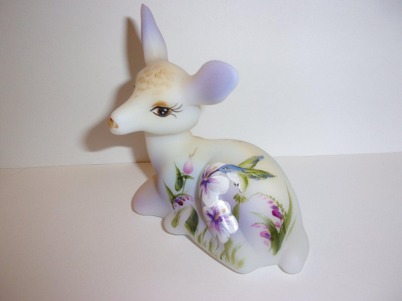 Fenton Glass Hummingbird Floral Fawn Deer Figurine Ltd Ed #12/33 M Kibbe