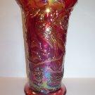 Fenton Art Glass Ruby Red Carnival Iridized Peacock Vase Ltd Ed Singleton Bailey