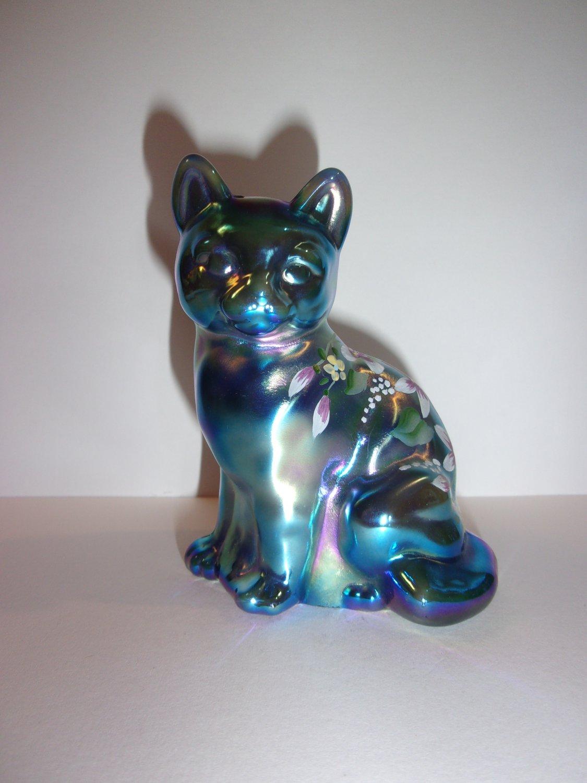 Fenton Glass Favrene HP Sitting Cat Special Order Signed Scott K. Fenton