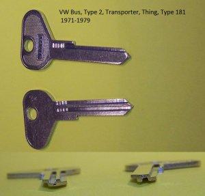 Volkswagen Bus Thing Type 181 Trekker 71-79 Key Blank R Profile