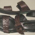 "DONALD J. PLINER FELA SLIDE SANDALS ITALY ESPRESSO BROWN NARROW 1"" HEEL SIZE 8 N"