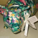 PORCELAIN PATCHWORKS JOAN BAKER DESIGNS FLORAL GREEN MEADOW CURLY TAIL PIG