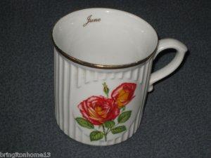 "Original Bohemia ""June"" Flower of the Month Mug Cup Rose Czech Republik"