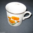 "Original Bohemia ""October"" Flower of the Month Mug Cup Calendula Czech Republik"