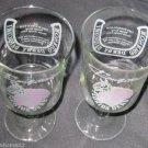 2 FLORIDA DERBY GULFSTREAM RONRICO DAIQUIRI SOUVENIR GLASS HORSE RACING 1980