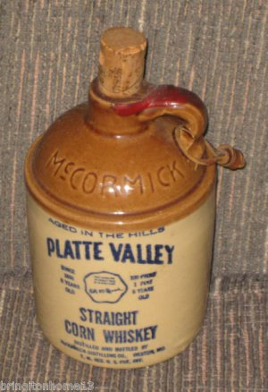 McCormick Platte Valley Straight Corn Whiskey Moonshine Stoneware Whiskey Jug