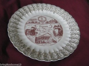 """VINTAGE VIRGINIA STATE SOUVENIR COLLECTOR PLATE MOTHER OF PRESIDENTS 10"""""""