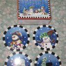 WINTER LESLIE BECK JCPENNY SET OF 4 HOLIDAY CHRISTMAS SNOWMEN COASTERS NIB