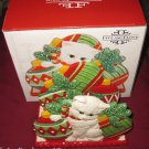 YULETIDE KITTEN CAT CHRISTMAS NAPKIN HOLDER CARDS FITZ & FLOYD 2008 MACYS NIB