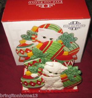 YULETIDE KITTEN CAT CHRISTMAS NAPKIN HOLDER CARDS FITZ & FLOYD 2008 MACYS NIB