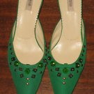 PRADA JEWELED GREEN SATIN AND LEATHER MULES SHOES SIZE 6 (36) Made in Italy