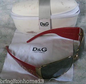 Dolce & Gabbana Sunglasses DG2014 Frames Red Gold with Case & Cleaning Cloth