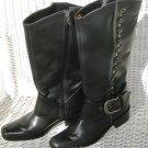 Harley Davidson Black Studded Knee High Leather Upper Riding Biker Boots Size 6