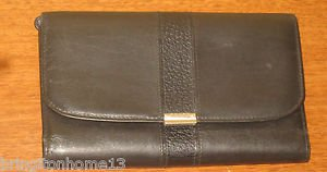 COACH WALLET NEW YORK CLUTCH BLACK LEATHER COIN WOMAN'S ITALY VINTAGE