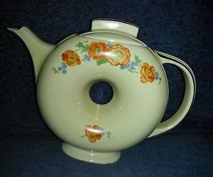 Hall China Orange Poppy Vintage Donut Teapot Rare
