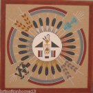 NAVAJO SAND PAINTING TOM CLAH CLARK SUN AND EAGLE SIGNED