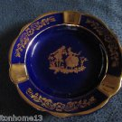 F & F LIMOGES FRANCE COURTING COUPLE COBALT BLUE & GOLD ASHTRAY WALTZ