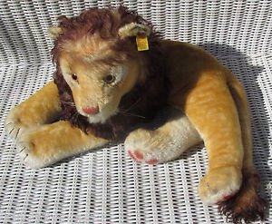 "Rare Steiff LEO Lying LION 0111/35 Mohair Germany LE 1000 Replica 1956 24"" Long"