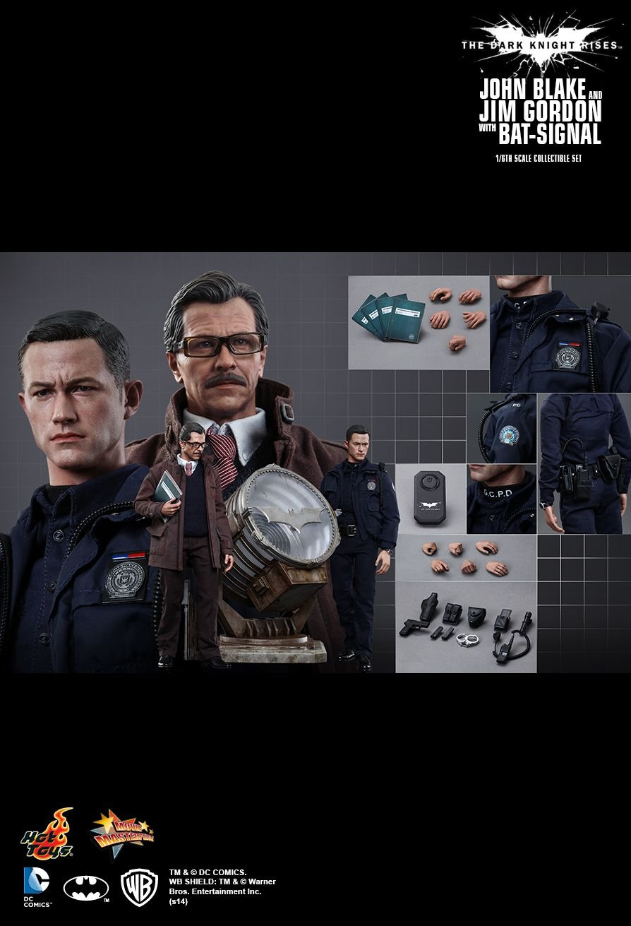 Hot Toys The Dark Knight Rises : John Blake and Jim Gordon figures with Bat-Signal (Clearance Sales)