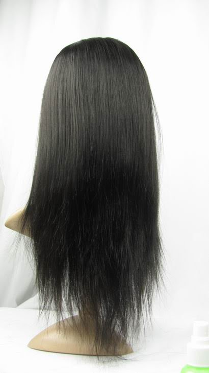 "real human hair full lace wig 16"" 1b# silky straight"