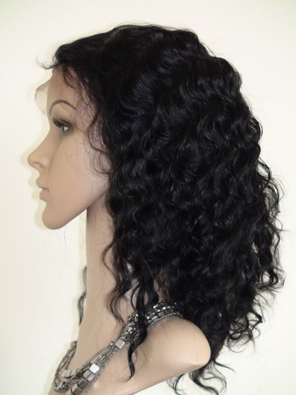 """indian remy human hair 18"""" 1# deep wave full lace wig"""