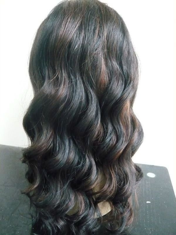"front lace wig remy human hair 18"" 1b-30# body wave"