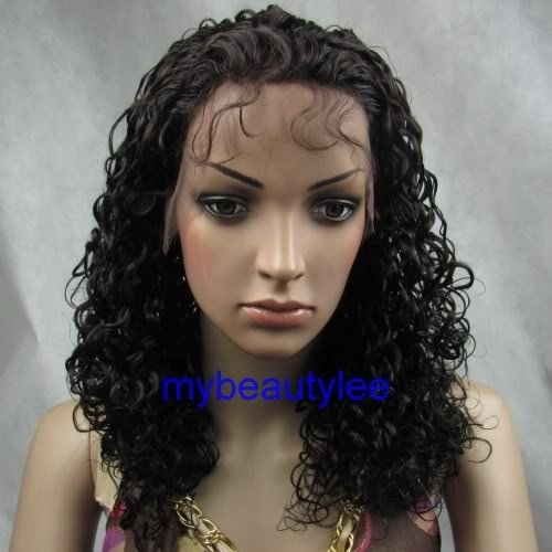 "india remy human hair front lace wig 16"" 2# curly"