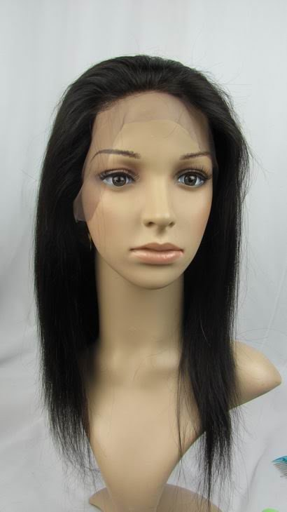 """front lace wig indian remy human hair 12"""" 1b# silky"""