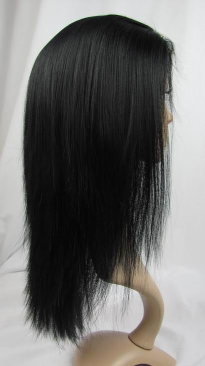 """full lace wig remy human hair 12"""" 1# yaki straight"""