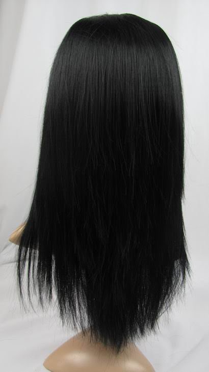 """front lace wig remy human hair 14"""" 1b# yaki straigt"""