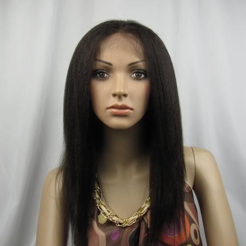 "16"" real human  hair full lace wig 2# kinky straight"