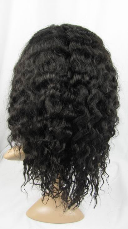 "100% front lace wig remy human hair 14"" 1b# deep wave"